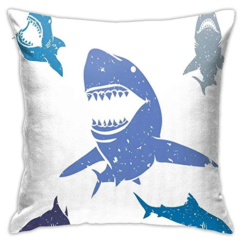 DHNKW Throw Pillow Case Cushion Cover,Grunge Style Big and Small Sharks with Open Mouth Predator Jaws Image ,18x18 Inches