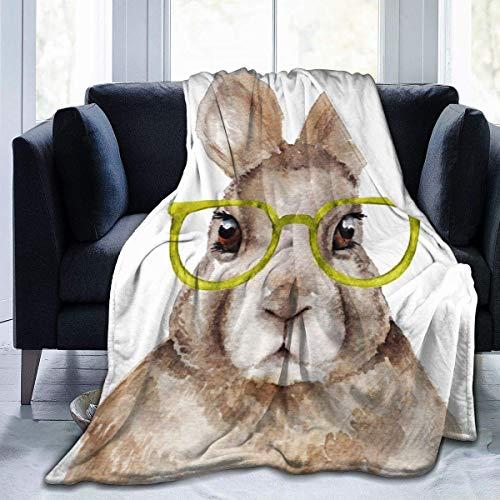 wobuzhidaoshamingzi Soft Blanket Girls Blanket Black Fleece Blanket Gifts, Divertido Retrato de Acuarela de Conejo con Gafas