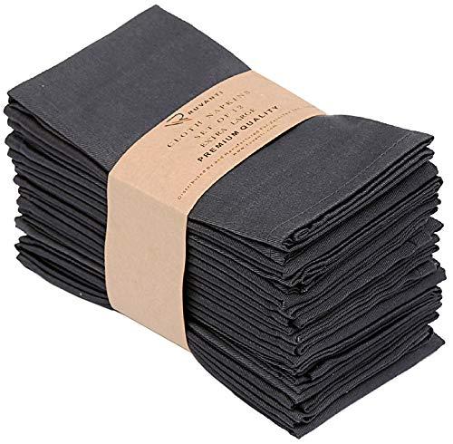 Ruvanti Kitchen Cloth Napkins 12 Pack 18X18 Inch Dinner Napkins Soft & Comfortable Reusable Napkins -Durable Gray Linen Napkins -Perfect Table Napkins / Dark Grey Napkins for Family Dinners, Weddings.