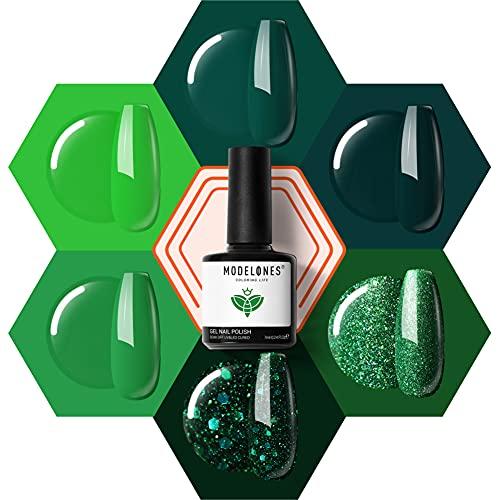 Green Gel Nail Polish, 6 Color Glitter Forest Dark Green Gel Polish Set, Nail Gel Polish Soak Off LED Gel Nail Kit Vanish Manicure Gift Box by Modeloens