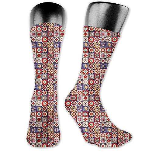 "Ingpopol Medium long Crew Socks,Talavera,Vintage Style Spanish Floral Motifs Pottery Look Continuous Pattern,Unisex 15.7\"",Multicolor"