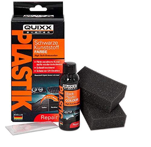 QUIXX Schwarze Kunststoff-Farbe | Kunststoff Reparatur Set | Kunststoff Politur | Kunststoff schwarz | Kunststoff Aufbereitung | Kunststoff färben