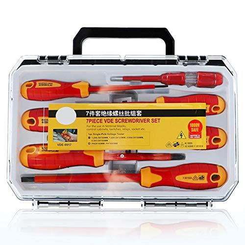 happygirr Juego de 7 destornilladores aislados Torx Security, mango de destornillador, multifunción, herramienta de electricista, destornillador manual para reparación