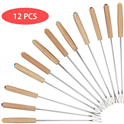 HAPPY FINDING Edelstahl Grillgabel Fondue Gabel - 12 Stück Set Fonduegabeln mit Griff aus Holz, Fonduebesteck aus Edelstahl, Fonduespieße 24 cm Länge