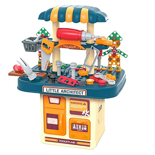 Tamkyo Kids Tool Bench Toy Set Construction Toy Workbench with Building Blocks Puzzles Toddlers Work Shop Repair Toolbox