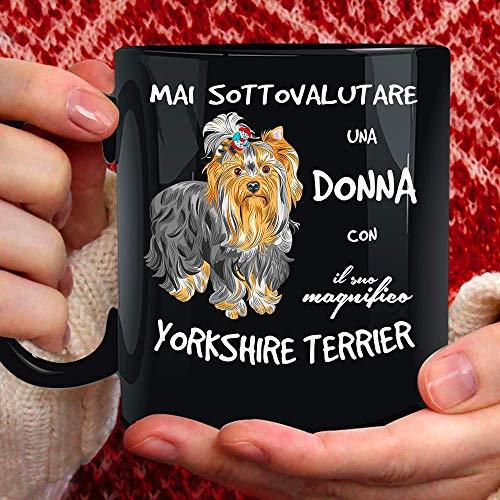 Tazza Cane Yorkshire Terrier in Ceramica - 350ml. per Te o Regalo per Donna, Amica, Mamma, Zia, Cugina, Nonna, Compleanno, Anniversario