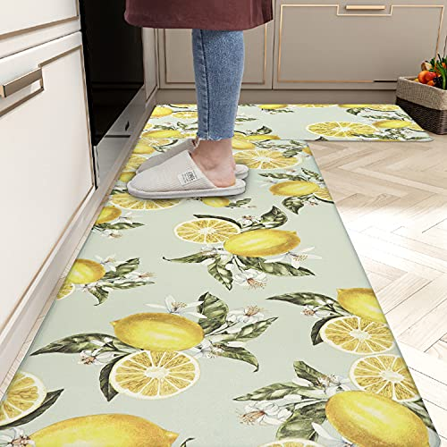 """Homcomoda Kitchen Rugs 2Piece Waterproof Anti Fatigue Kitchen Floor Mat Lemon Non Slip Comfort PVC Leather Heavy Duty Standing Mats Indoor Outdoor(17""""×28"""" and 17""""×47"""")"""