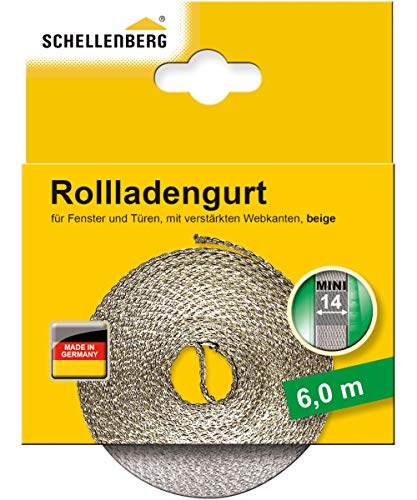 Schellenberg 46001 Rollladengurt 14 mm x 6 m - System MAXI, Rolladengurt, Gurtband, Rolladenband