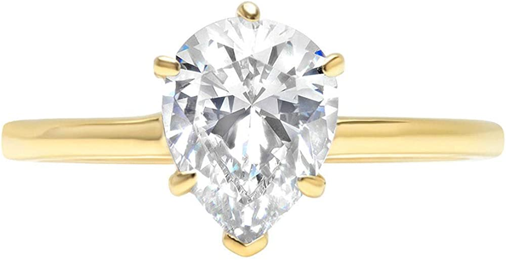14k Yellow Gold 0.97cttw Pear Cut Solitaire Moissanite Engagement Promise Ideal VVS1 6-Prong Ring Statement Anniversary Bridal Wedding by Clara Pucci