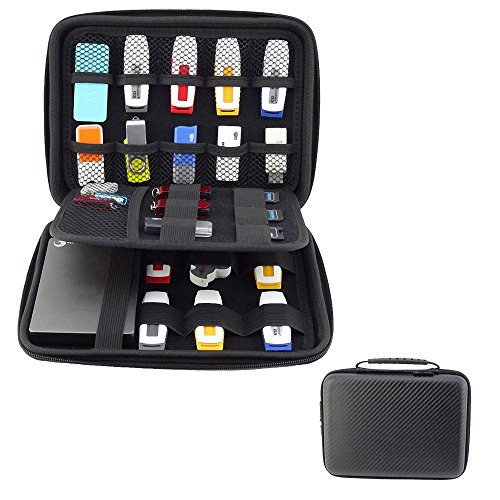 Honeystore Universial Portable Waterproof Shockproof Electronic Accessories Organizer Travel Storage Bag Digital Accessories USB Flash Drive Case for Hard Disk, Power Bank, Cables and More Black2