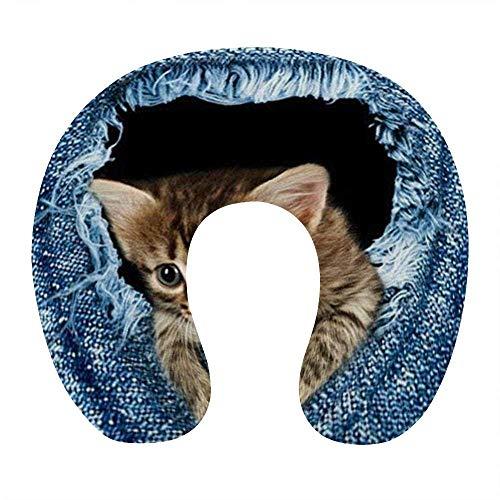 Almohada de Moda para el Cuello para Viajes en avión, Oficina en casa, cómoda Almohada para Dormir con Soporte para el Cuello en Forma de U con Funda extraíble y Lavable, Estampados de Gatos Lindos