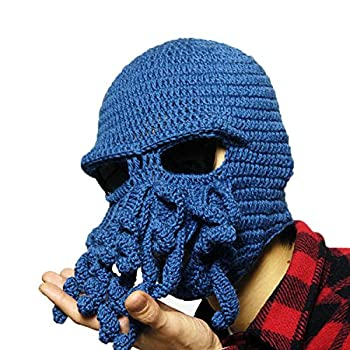 Tentacle Octopus Cthulhu Knit Beanie Hat Fisher Cap Wind Ski Mask  One Size Blue