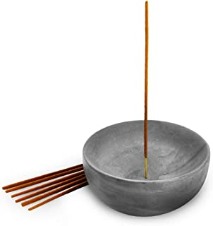 Slice of Goodness Grey Cement Incense Holder Large Bowl - Modern Minimal Design with Upright Burner and Geometric Cone Sha...