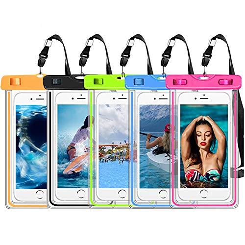 """Lot de 5 pochettes lumineuses étanches IPX8 universelles pour téléphone portable compatible Apple Xs Max/X/8/7/6/6s, Galaxy S10/S9/S8/Note 9/8 jusqu'à 6"""" pour parc aquatique/plage/croisière/croisière"""