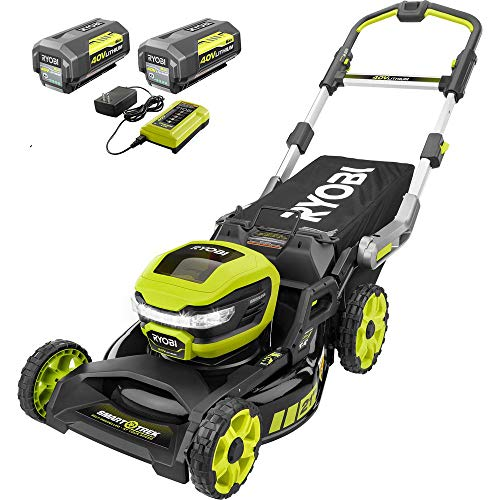 RYOBI RY40LM10-2B 21 in. 40-Volt Brushless Lithium-Ion Cordless Smart Trek SelfPropelled Walk Behind Mower Two 6.0 AhBatteries & 1 Charger