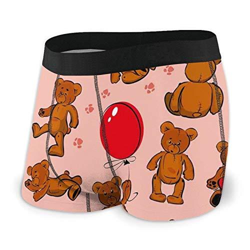 Calzoncillos tipo bóxer para hombre, diseño de oso de peluche, diseño de huellas con globo y corazones