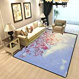 Tree Home Sports Rugs Pink Flowers on Branches Sunny Morning Sky Serene Nature Seasonal Romantic Children's Nursery Dormitory Room Home Decoration Carpet Pink Pale Violet Blue W4xL6 Feet