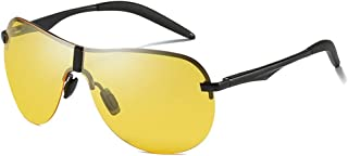 Fashion Yellow/Brown Men's Driving Sunglasses Casual Fashion Wild Polarized New Aluminum Magnesium Material Sunglasses Retro (Color : Yellow)