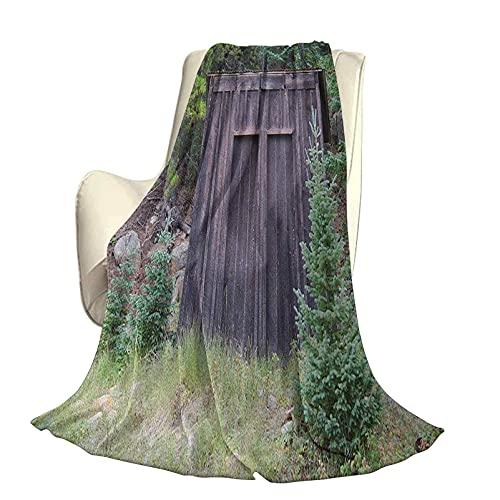 Outhouse - Manta súper Suave para decoración de la casa de la Vida en la Granja, Puerta de Madera de cabaña en Hojas de Bosque, impresión artística, sofá Cama de Viaje Duradero, sofá de 60 x