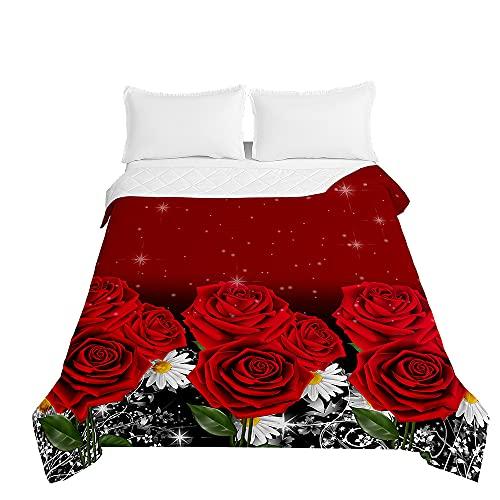 Oduo Colcha Bouti Cama de Verano, Microfibra Cubrecama Multiusos Suave para Cama de Matrimonio, Lavable Acolchada Edredón Ligero Manta para Todas Las Estaciones (Rosa roja,220x240cm)