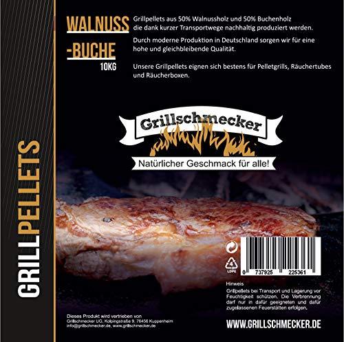 Grillschmecker Grillpellets - Natürliches Holzaroma für Grill, Pelletofen & Smoker - 10 kg Walnuss- & Buchholz
