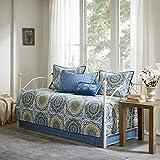 Madison Park Tangiers 6 Piece Reversible Quilt Set Coverlet Bedding, 75'x39', Blue