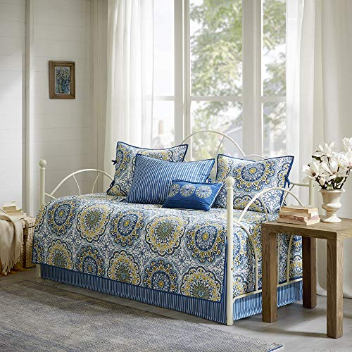 Madison Park Daybed Cover Set-Double Sided Quilting Casual Design All Season Bedding with Bedskirt, Matching Shams, Decorative Pillow, 75'x39', Blue