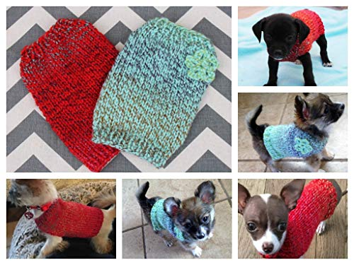 Dog/Puppy/Kitten Sweater Hand Knit Teeny Tiny Rustic with Crochet Flower XXXS/XXS 1 to 2 lbs for Teacup/Toy Breed Puppy Newborn to 2 Pounds