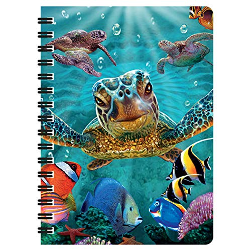 Tiny Bubbles 3D LiveLife Turtle Jotter from Deluxebase. A6 Sized lenticular Spiral Notebook.