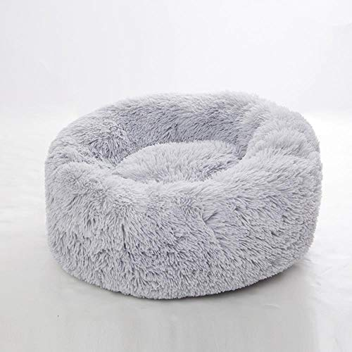 qingy Super soft dog bed round washable plush kennel cat house velvet mat sofa dog basket pet bed pet supplies snuffle mat for dogs,Light gray,4XL120cm