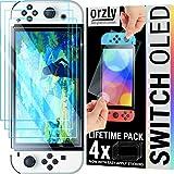Orzly pacchetto di protezioni dello schermo per Nintendo Switch console OLED modello 2021 - Vetro temperato da 4 pezzi con accessori di faci …