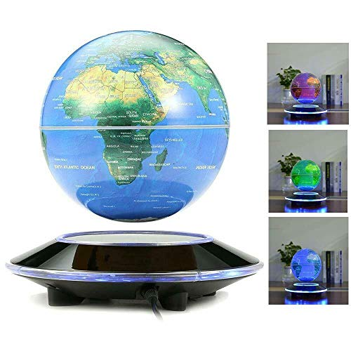 BTDH 6-inch Colorful LED Light Floating Globe Magnetic Levitation Earth World Map Rotating Globe World Map Educational Gifts for Kids Teens Home Bedroom Office School Desk Decoration Ornament