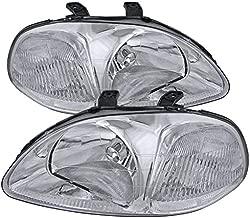 Carpartsinnovate For 96-98 Honda Civic EK EJ JDM Replacement Chrome Clear Headlights Lamps Pair
