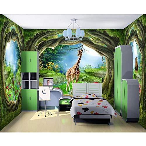 Fotobehang 3D,Droom Sprookjesbos Dierbehang,Behang voor Muren 3 d Behang voor Woonkamer 280 cm (B) x 180 cm (H)