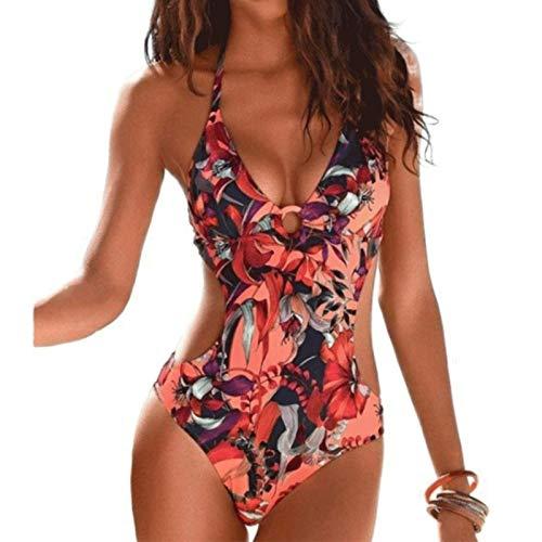 DURINM Mujeres Retro Cintura Alta Trajes de Baño Una Pieza Bañador Trajes de Brasileño Conjunto de Bikini Push up Ropa de Baño Cuello en V