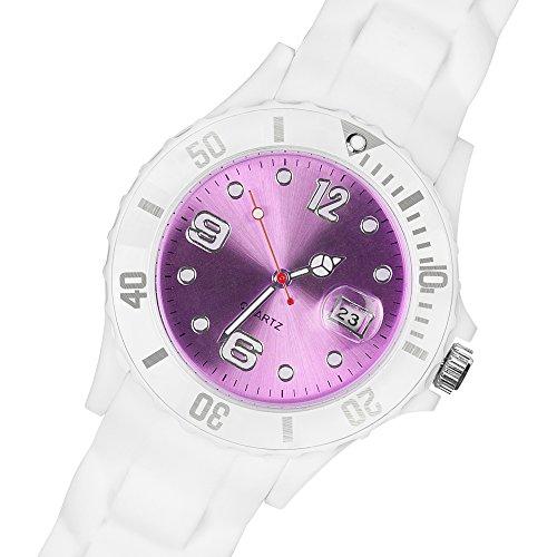 Taffstyle Damen Herren Sportuhr Armbanduhr Silikon Sport Watch Farbiges Ziffernblatt mit Datum Analog Quarz Uhr Weiß Lila