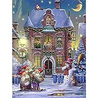 5Dクリスマスダイヤモンド絵画風景フルドリルスクエア家の装飾手工芸品キットアート刺繡画像ギフトスクエア40x50cm