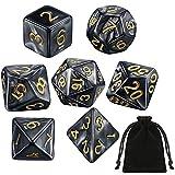 7 pieces of polyhedral dice set Black