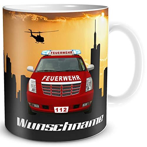TRIOSK Tasse Feuerwehr Auto lustig mit Namen personalisiert Feuerwehrauto Geschenk für Feuerwehrleute Kinder Männer Jungs Feuerwehrmänner Beruf