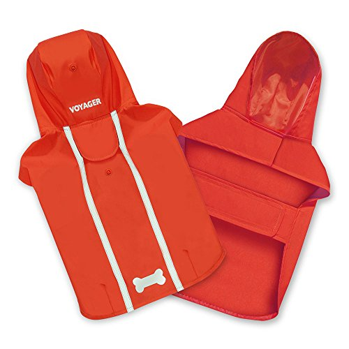 Voyager Waterproof Dogs Raincoat/Rain Poncho by Best Pet Supplies - Red, X-Large, Chest: 30' ~ 35' (253-RD-XL)