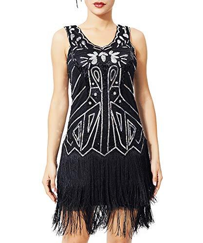 Geplaimir 20er Jahre Kleider Damen Flapper Dress Charleston Kleider V Ausschnitt The Great Gatsby Motto Party Fasching Karneval Kostüm Schwarz Silber 013DXL