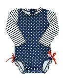 RuffleButts Baby/Toddler Girls Navy Polka Dot One Piece Rash Guard Swimsuit - 0-3m