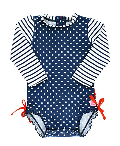 RuffleButts Baby/Toddler Girls Navy Polka Dot One Piece Rash Guard Swimsuit - 12-18m