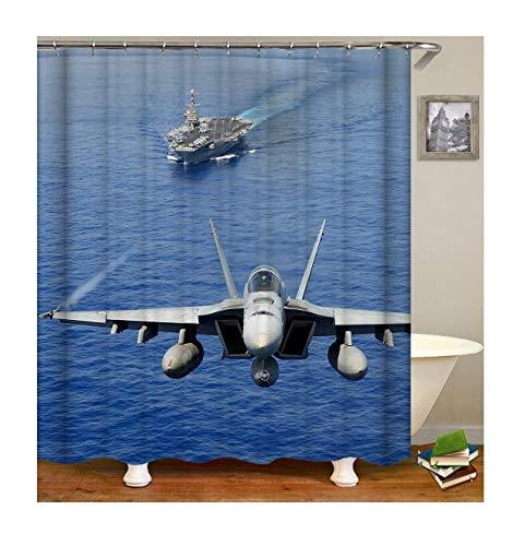 Bishilin Duschvorhang Wasserdichter Kreuzfahrtschiff Flugzeuge Badvorhang Vintage Polyester-Stoff 150x200