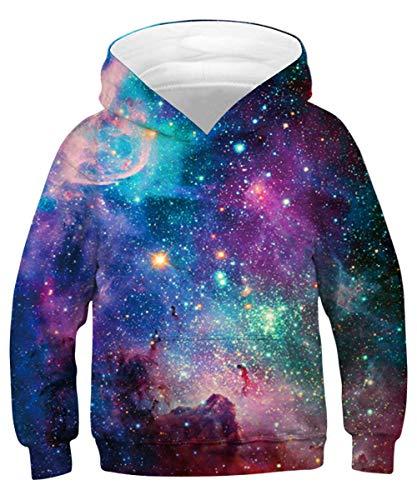 ALISISTER Hoodie Kinder Jungen Mädchen 3D Galaxy Drucken Hoody Kapuzenpullover Beiläufig Langarm Sweatshirt Sweater S
