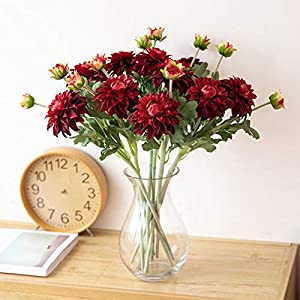 NUZYZ Multi-use Bright-Colored Artificial Dahlia Flower Fake Faux Silk Flower Simulation Display for Home Decoration