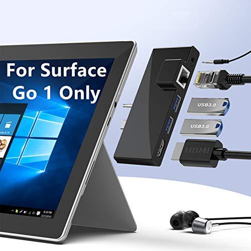 Base dock para Surface Go, Surface Go USB C Hub Adaptador Accesorios con 4K HDMI, 1000M RJ45 Ethernet, 2 puertos USB 3.0, Salida de Audio para Microsoft Surface Go 1/2