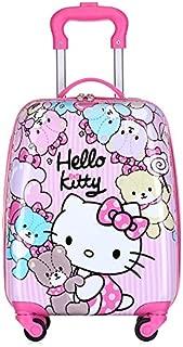 MissTiara - 18 Inch Lightweight Kid's Travel Luggage suitcase Children School Trolley bag Cartoon Rolling Bag on wheels (Kitty cat 1)