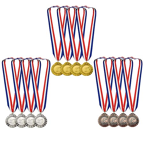 MOMOONNON 12 Pieces Metal Winner Gold Silver Bronze Award Medals Red White Blue Neck Ribbon, Olympic Style, 2 Inch