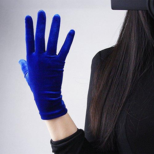 Women Velvet Gloves Elastic Stretchy Velours Flannel Royalblue Silver 22cm Gift